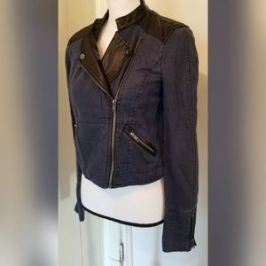 Free People Jackets & Coats - Free People Leather Jean Cropped Jacket Moto Urban